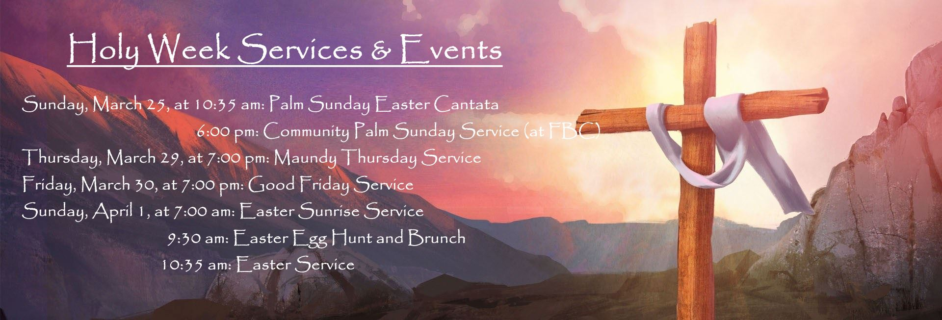 2018 Holy Week Worship Services and Events